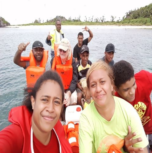 The team from Birdlife International on their way to visit the Vatu-i-Ra Island to conduct a survey. ©Birdlife International.
